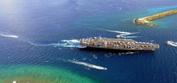 USS Ronald Reagan enters Agana Harbor in Guam (credit wikimediacommons)