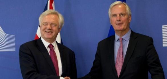 David Davis and Michel Barnier shake hands as Brexit talks finally ... - thesun.co.uk