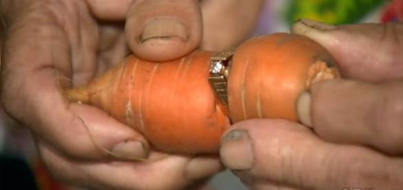 Canadian woman finally gets her lost diamond ring back, on a carrot [Image: YouTube/ CTV News]