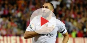 Benzema buteur pour le Real Madrid contre le Barça (image via bfmtv.com)