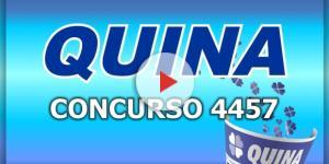 Resultado do concurso 4457 da Quina