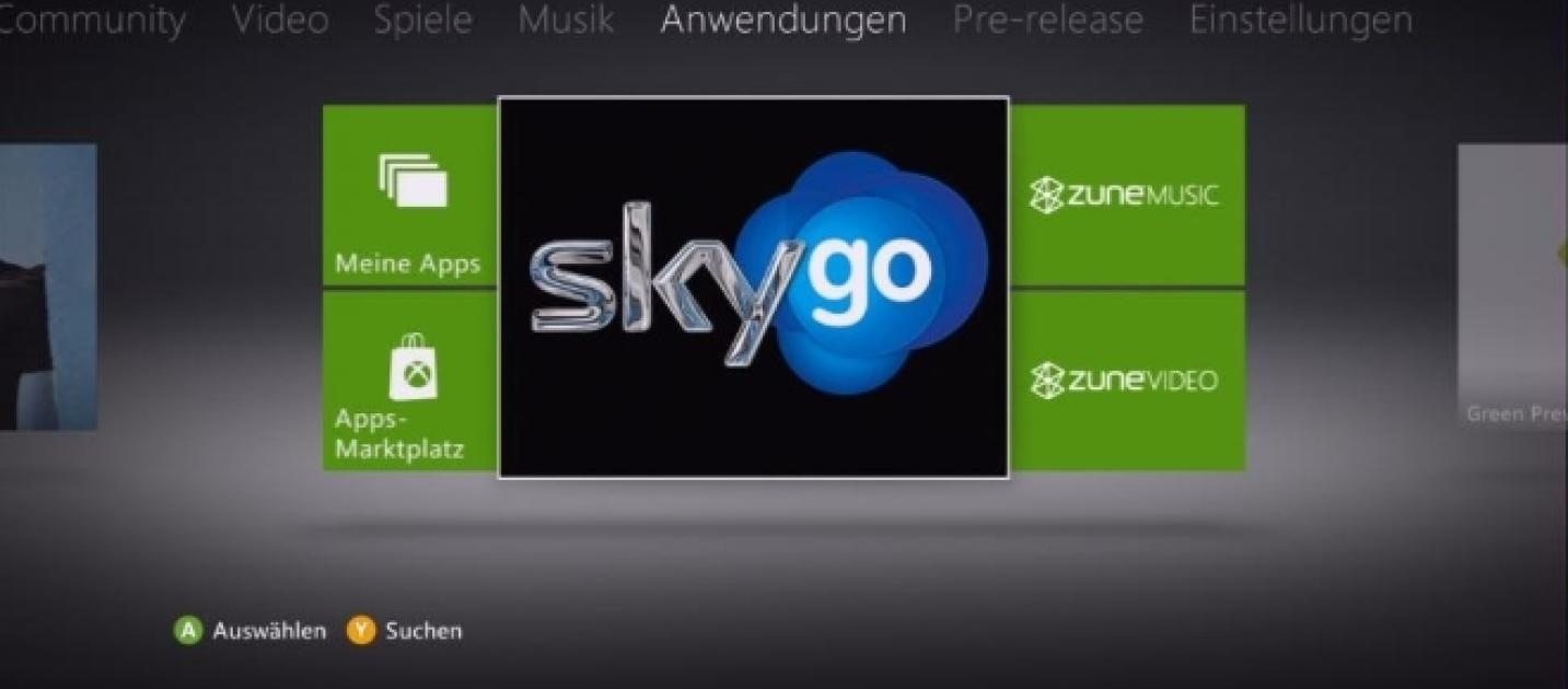 how to get sky go on xbox 360