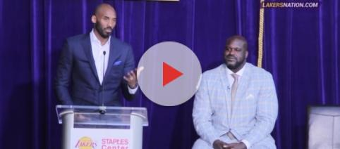 Former Los Angeles Lakers player Kobe Bryant alongside former reammate Shaquille O'Neal. Photo -- YouTube Screenshot/@Lakers Nation
