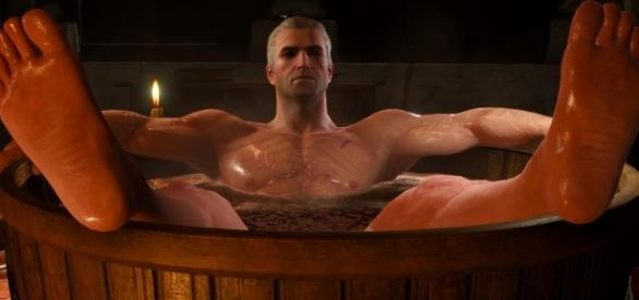 The Witcher 3: Geralt of Rivia in a bathtub | Kami Shepard/YouTube