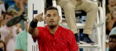 Nick Kyrgios celebrating his win over David Ferrer at 2017 Cincinnati/ Photo: screenshot via ATPWorld Tour channel on YouTube