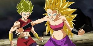 Dragon Ball Super: Caulifla se transforma en Super Sayajin 3.