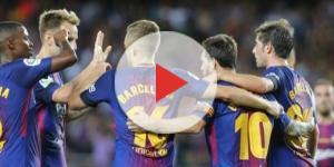 Los jugadores del Barça celebran uno de los goles en Liga