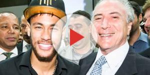 Neymar, que apoiou Aécio Neves nas eleições presidenciais de 2014, em encontro com Temer