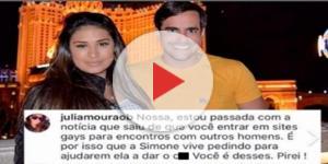 Marido de Simone resolve responder comentário de internauta