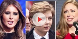 Melania and Barron Trump & Chelsea Clinton, via YouTube