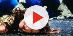 Amitis é morta ao tentar atacar Nebuzaradã (Foto: Reprodução/Record TV)