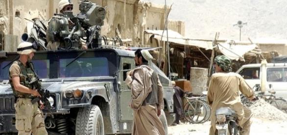 Patrolling the Panjwayi district near Kandahar (credit - Twana Atkinson – wikimediacommons)