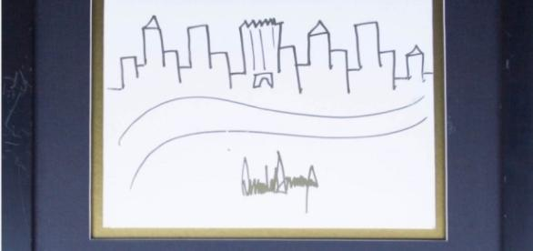 Drawing by Donald Trump (Image: artnet)