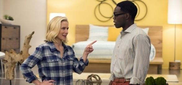 """Pilot/Flying"""" · The Good Place · TV Review Kristen Bell is .[Image source: Youtube Screen grab]"""