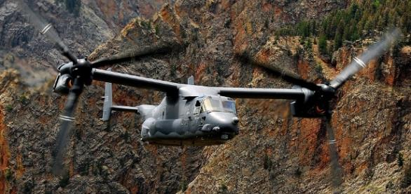 The Osprey in majestic flight through mountains.https://pixabay.com/en/propeller-propeller-plane-62885/