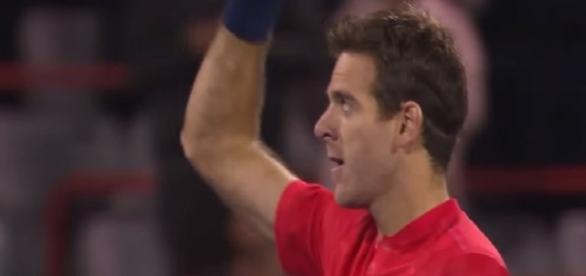 Del Potro celebrating his win over John Isner in Montreal opener/ Photo: screenshot via Tennis TV channel on YouTube