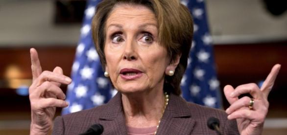 Nancy Pelosi, House minority speaker, makes a point. (YouTube snip)