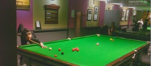 Reanne Evans in play at Northern Snooker Centre Leeds