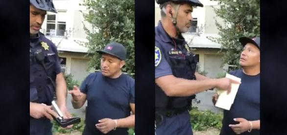 A UCPD officer was filmed taking money from a hot dog vendor on campus [Image: Twitter video/@Moreno]
