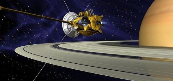 On July 1, 2004, NASA let loose of the spacecraft to study Saturn. [Image via Wikimedia Commons/NASA/JPL]