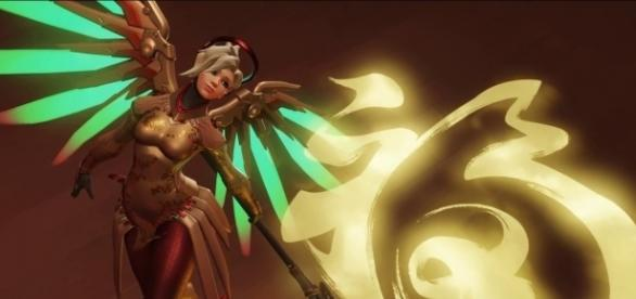 'Overwatch' hero Mercy. [Image via YouTube/AcidRockStar]