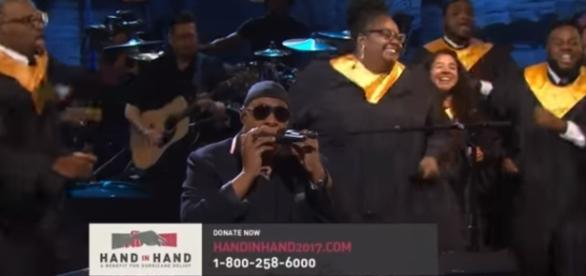 "Stevie Wonder performing his song ""Lean on me"" during the hour long event. Credit - Youtube 