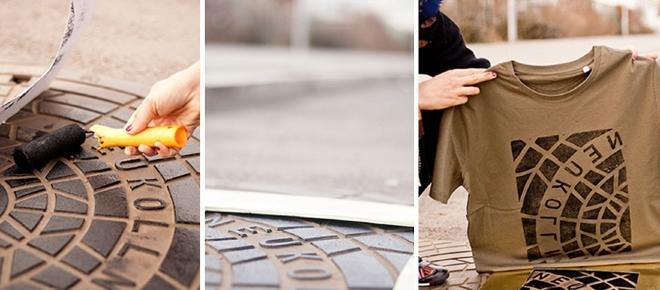 Artistas usam tampa de bueiros para estampar camisetas e bolsas