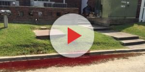 Sangue humano escorre em via pública de Baton Rouge (Danielle/WBRZ)