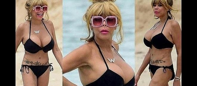 Wendy Williams criticized for wearing tiny black bikini on a beach in Barbados