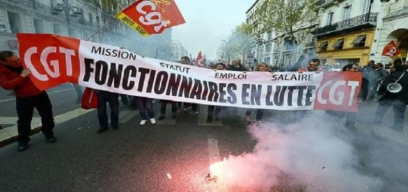 Manifestation de fonctionnaires à Marseille