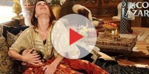 Em 'O Rico e Lázaro', a rainha Amitis chora com a morte de Nabucodonosor