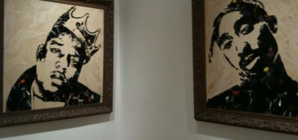 Quadri che ritraggono Notorius B.I.G e Tupac