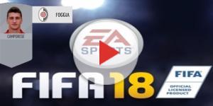 Il logo di FIFA 18, la carta di Camporese e lo stemma impostato per il Foggia.