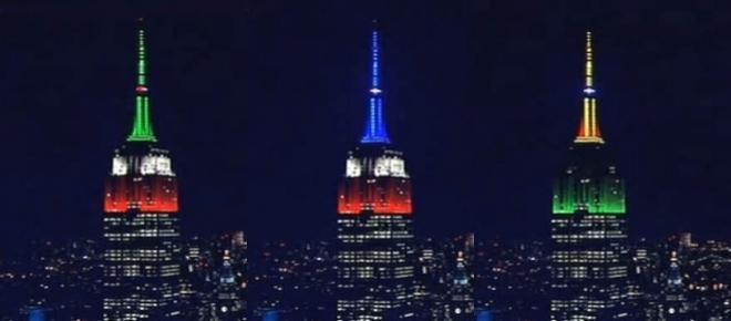 Watch Empire State Building light up to honor hurricane and earthquake victims