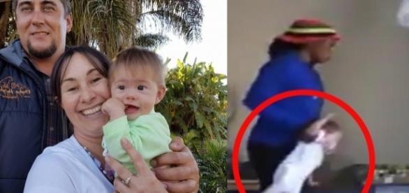 A câmera escondida pega babá jogando bebê violentamente no berço como boneca de pano (Foto; Captura de vídeo)