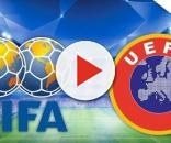 Reprodução dos logos da FIFA e da UEFA, que estão com vagas abertas de emprego