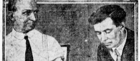 William Marston tests a lie detector circa 1922 (image courtesy The Morning Tulsa daily world wikimedia commons)
