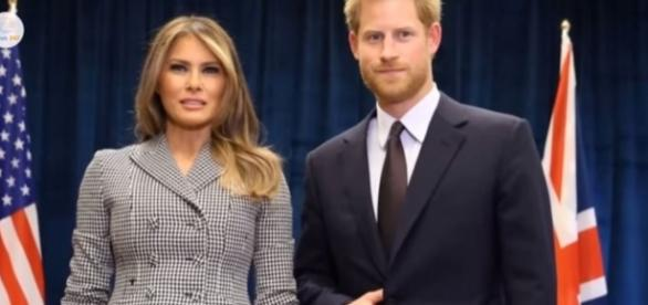 Prince Harry and Melania Trump's photo went viral after people took notice of Harry's unusual hand gesture, Photo via News 247, YouTube