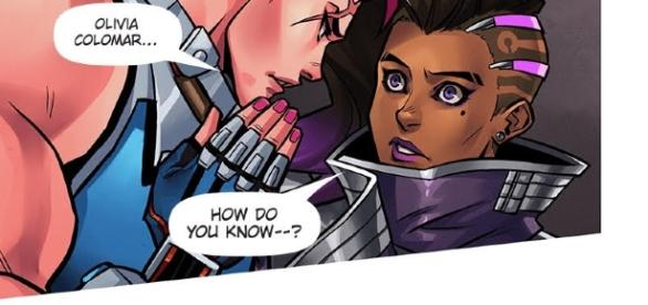 "Zarya revealing Sombra's name. (Image - screencap ""Searching"", Page 10 Panel 3 comic.play overwatch)"