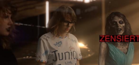 Im Netz schon knapp 200 Millionen Mal angeklickt, doch für MTV ist nicht nur diese Szene problematisch (Foto: YouTube / TaylorSwiftVevo, Montage)