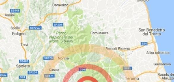epicentro del terremoto in centro Italia