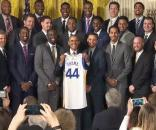 President Obama congratulated the Golden State Warriors, the 2015 NBA champions, at the White House - White House via Wikimedia Commons