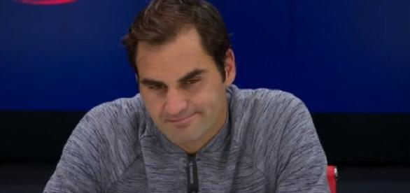 Federer during a press conference after losing to del Potro/ Photo: screenshot via WeAreTennis II channel on YouTube