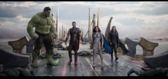 Chris Hemsworth as Thor and his 'team' of 'Revengers,' from 'Thor: Ragnarok.' / from 'YouTube' screen grab