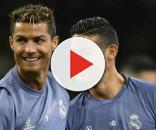 Cristiano Ronaldo com James Rodríguez, no Real