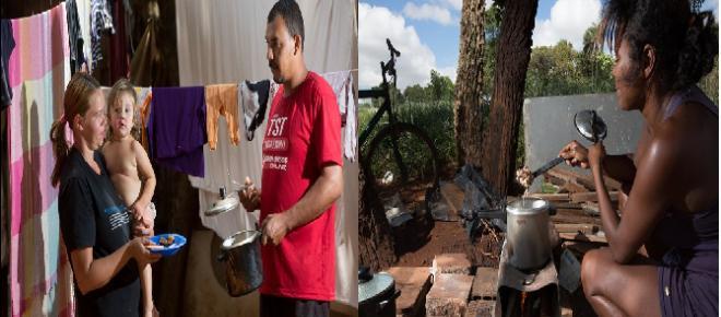 Sem nenhum dinheiro para comprar gás, famílias improvisam fogões a lenha