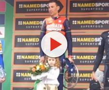 Vincenzo Nibali sul podio del Lombardia