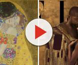 Lázaro Ramos e Tais Araujo fizeram parte da recriação da obra 'O Beijo', de Gustav Klimt. (Foto: Reprodução)