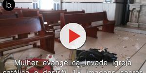 Mulher evangélica invade igreja católica e destrói 18 imagens sacras e 7 quadros