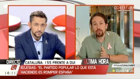 Intervención inmediata tras la brutal acusación de Pablo Iglesias en Cuatro